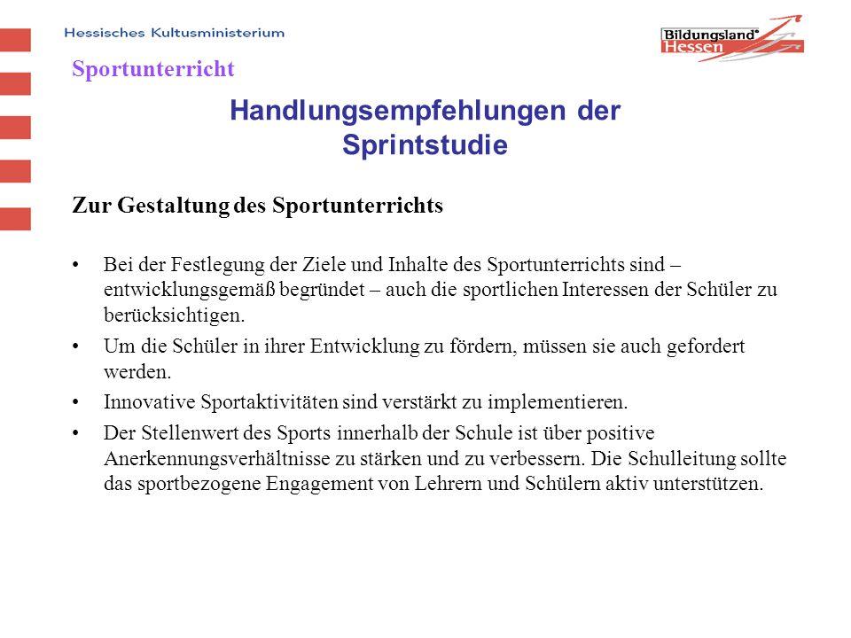 Programm zur Förderung der Zusammenarbeit von Schulen und Sportvereinen Angebot für alle Schulformen bis Jahrgangsstufe 10 Mehr als 500 Projekte in Hessen in unterschiedlichen Sportarten und Bewegungsangeboten Beantragung der Maßnahmen über die Staatlichen Schulämter (z.Zt.