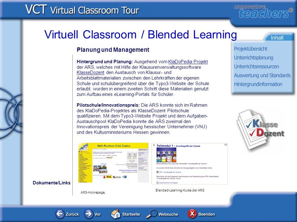 Lehrmittel und Ressourcen Dokumente Virtuell Classroom / Blended Learning Die folgende Grafik zeigt einen Auszug aus dem eLearning- Angebot der ARS-Limburg mit den verschiedenen Kursen.