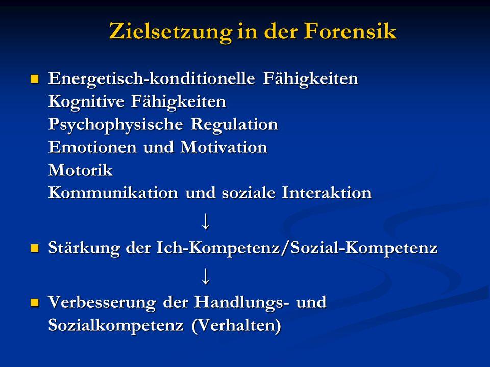 Zielsetzung in der Forensik Zielsetzung in der Forensik Energetisch-konditionelle Fähigkeiten Kognitive Fähigkeiten Psychophysische Regulation Emotion