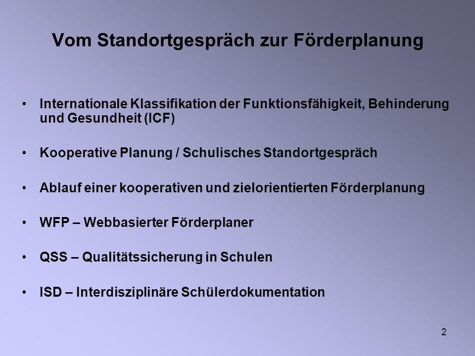 2 Vom Standortgespräch zur Förderplanung Internationale Klassifikation der Funktionsfähigkeit, Behinderung und Gesundheit (ICF) Kooperative Planung /
