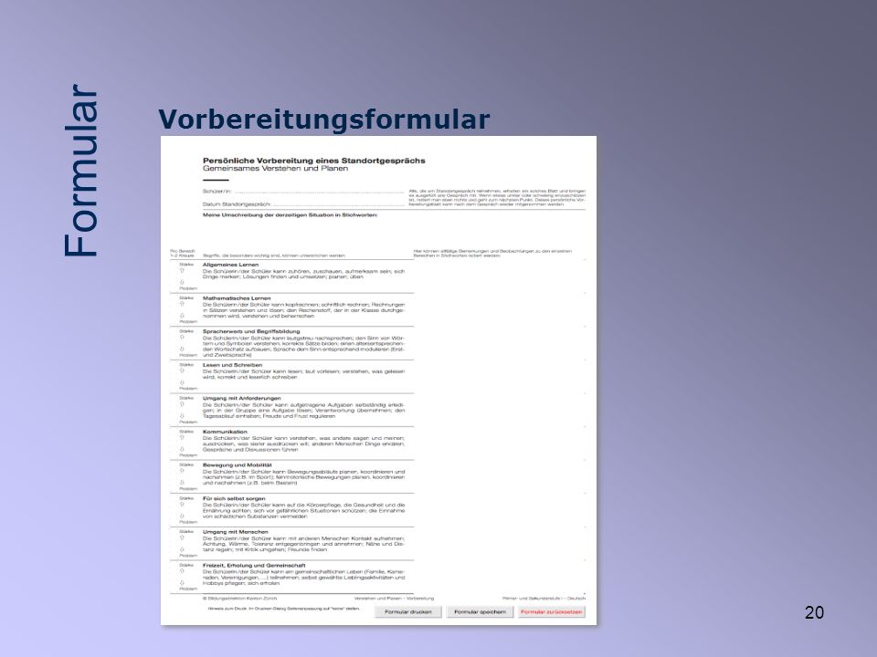 20 Vorbereitungsformular Formular