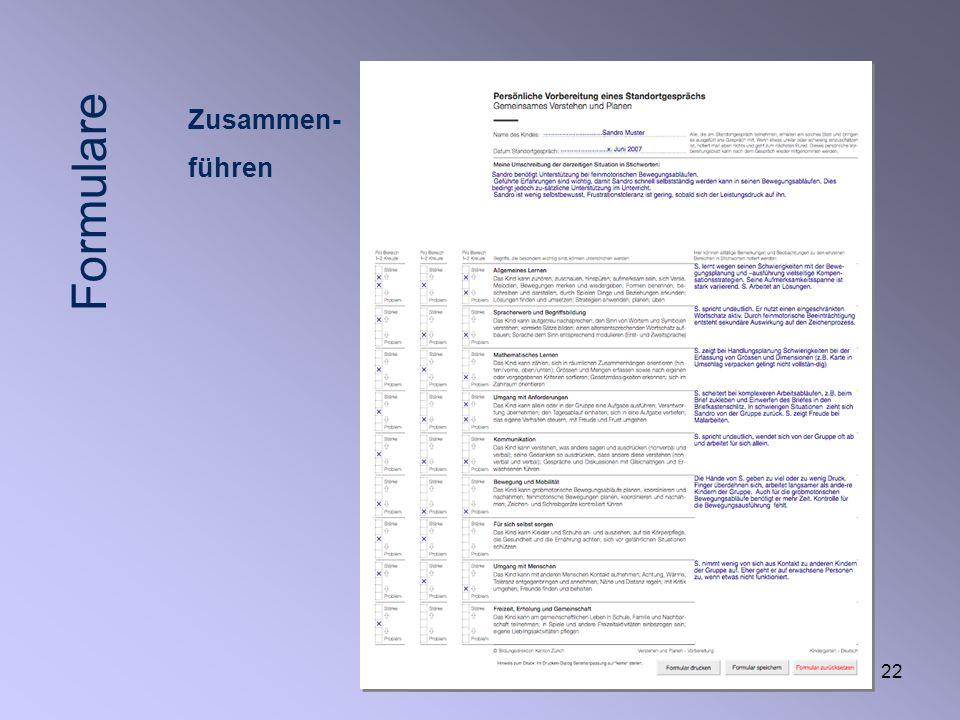22 Zusammen- führen Formulare