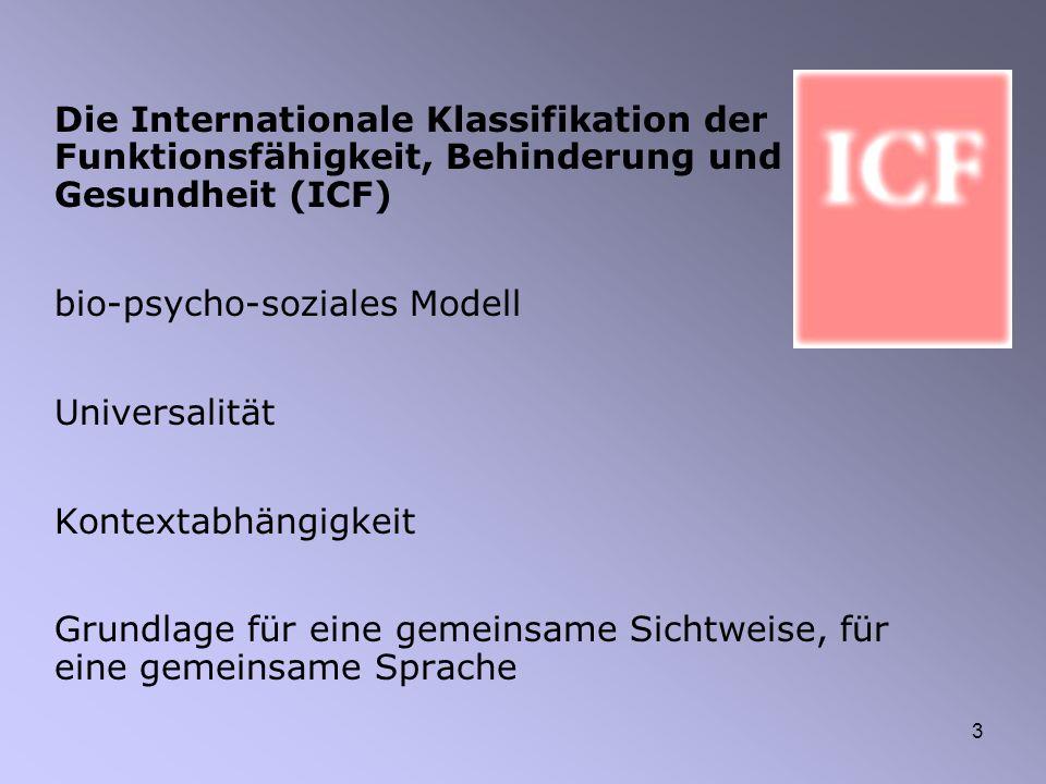 3 Die Internationale Klassifikation der Funktionsfähigkeit, Behinderung und Gesundheit (ICF) bio-psycho-soziales Modell Universalität Kontextabhängigk
