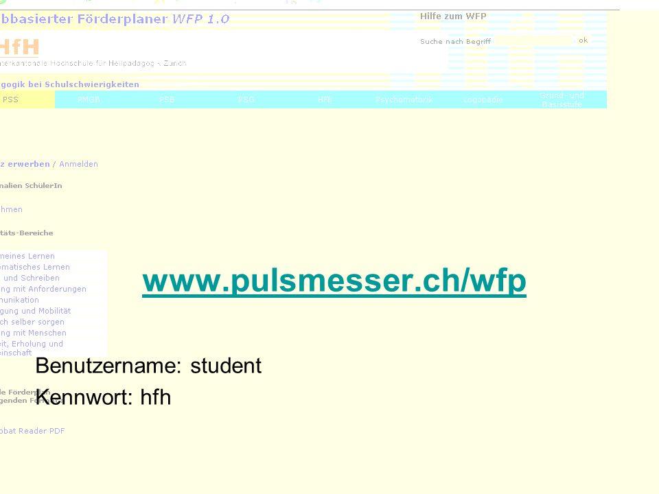 40 www.pulsmesser.ch/wfp Benutzername: student Kennwort: hfh