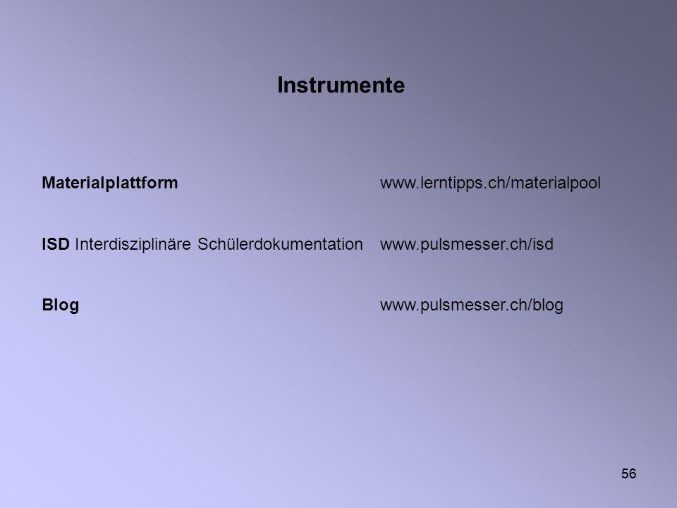 56 Materialplattformwww.lerntipps.ch/materialpool ISD Interdisziplinäre Schülerdokumentationwww.pulsmesser.ch/isd Blogwww.pulsmesser.ch/blog Instrumen