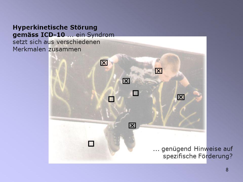 8 Hyperkinetische Störung gemäss ICD-10... ein Syndrom setzt sich aus verschiedenen Merkmalen zusammen... genügend Hinweise auf spezifische Förderung?