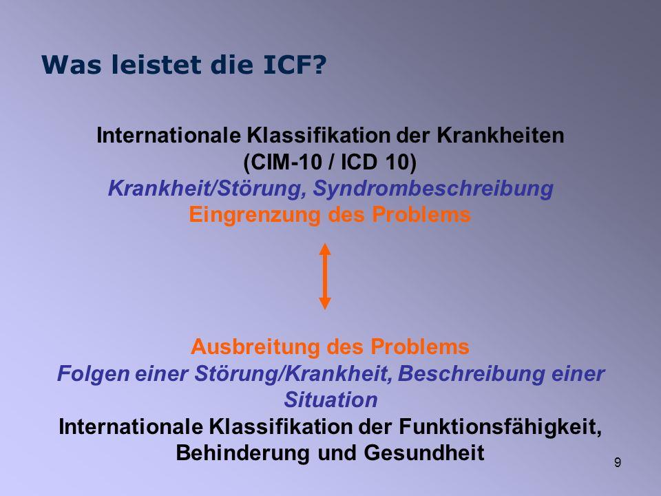 9 Was leistet die ICF? Internationale Klassifikation der Krankheiten (CIM-10 / ICD 10) Krankheit/Störung, Syndrombeschreibung Eingrenzung des Problems