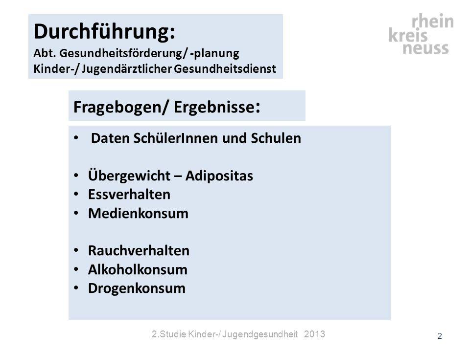 Auffälliges Essverhalten nach Geschlecht im Studienvergleich © Gesundheitsamt Rhein-Kreis Neuss13