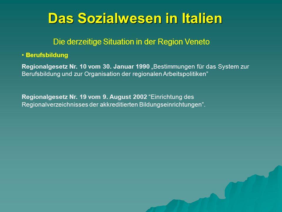 Die derzeitige Situation in der Region Veneto Das Sozialwesen in Italien Berufsbildung Regionalgesetz Nr. 10 vom 30. Januar 1990 Bestimmungen für das
