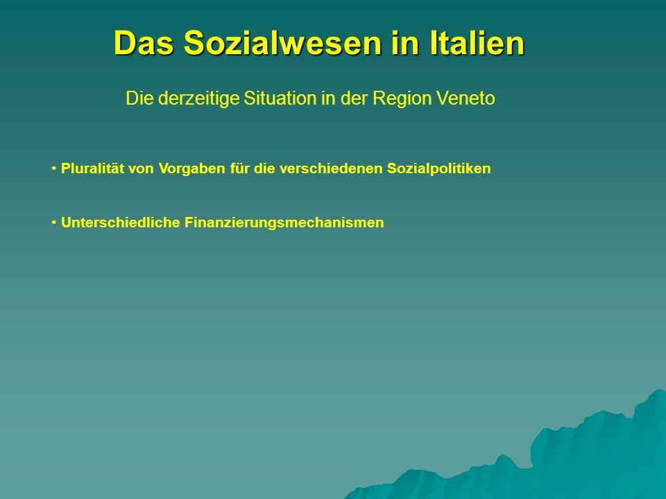 Die derzeitige Situation in der Region Veneto Das Sozialwesen in Italien Pluralität von Vorgaben für die verschiedenen Sozialpolitiken Unterschiedliche Finanzierungsmechanismen