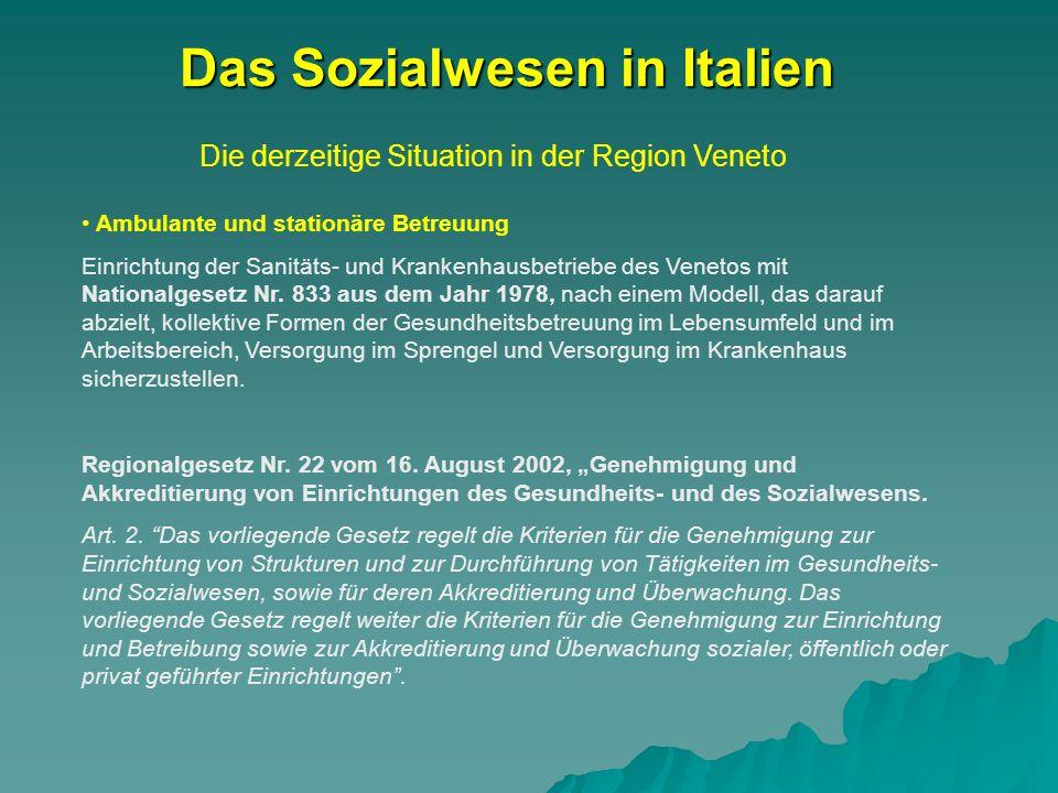 Die derzeitige Situation in der Region Veneto Das Sozialwesen in Italien Ambulante und stationäre Betreuung Einrichtung der Sanitäts- und Krankenhausbetriebe des Venetos mit Nationalgesetz Nr.