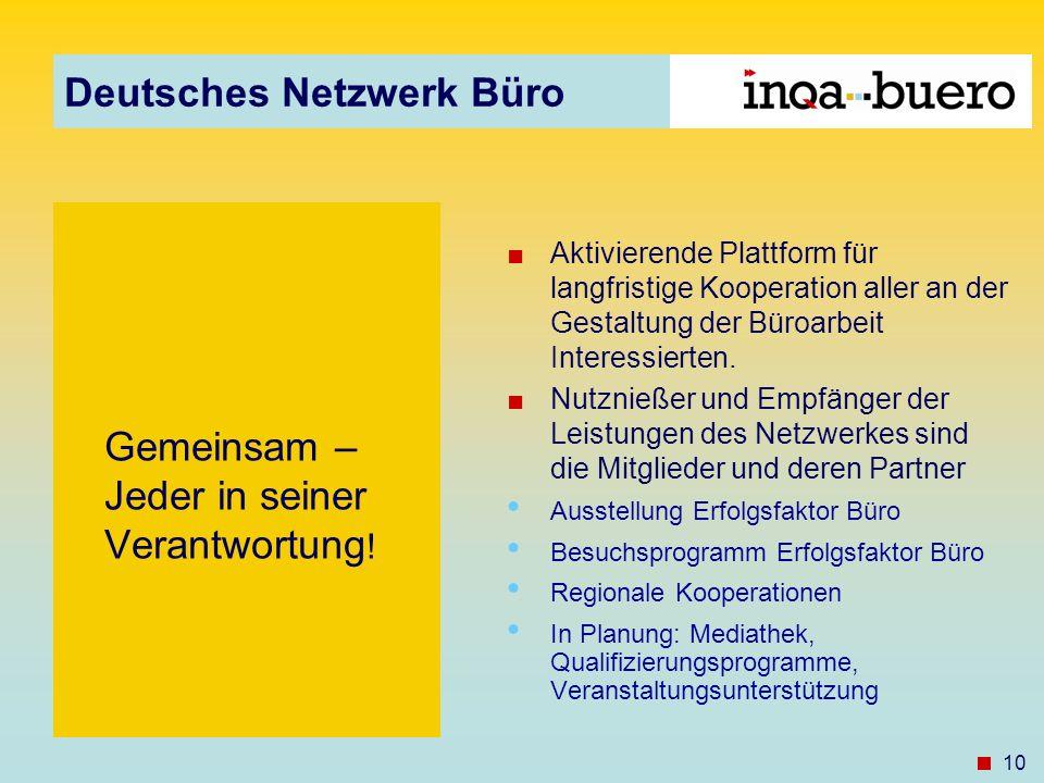Deutsches Netzwerk Büro 10 Gemeinsam – Jeder in seiner Verantwortung ! Aktivierende Plattform für langfristige Kooperation aller an der Gestaltung der