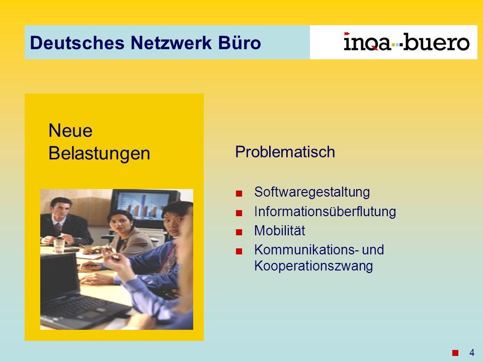 Deutsches Netzwerk Büro 4 Neue Belastungen Problematisch Softwaregestaltung Informationsüberflutung Mobilität Kommunikations- und Kooperationszwang