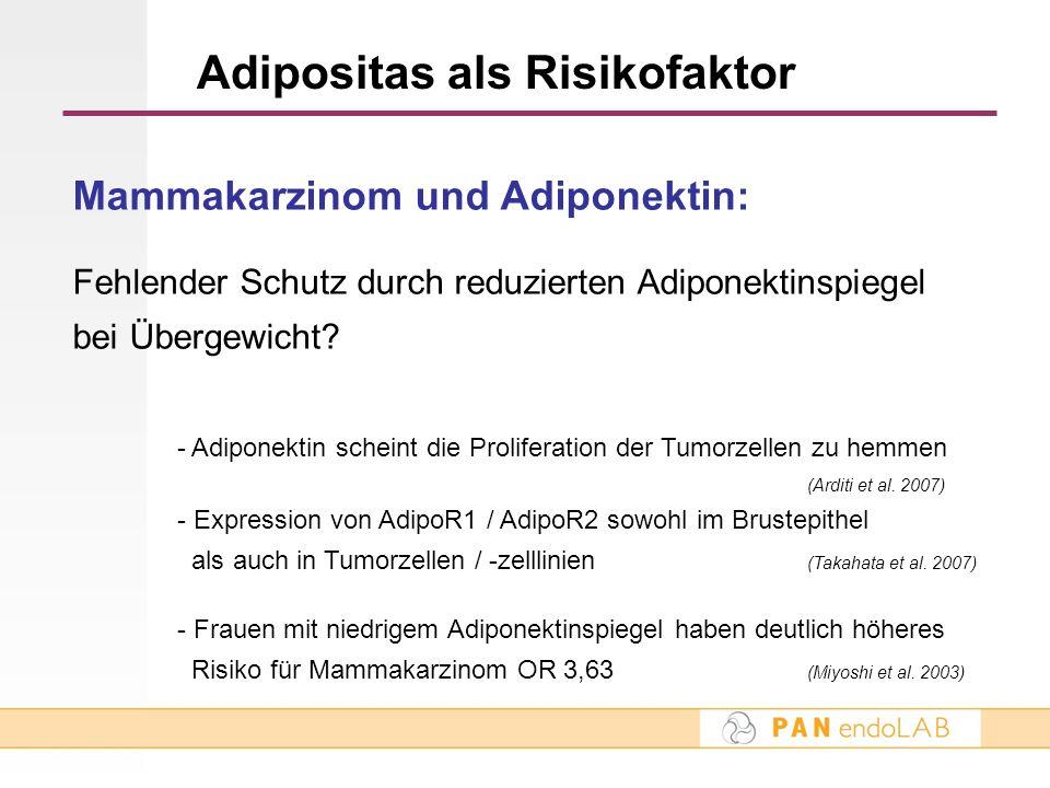 Adipositas als Risikofaktor Mammakarzinom und Adiponektin: Fehlender Schutz durch reduzierten Adiponektinspiegel bei Übergewicht? - Adiponektin schein