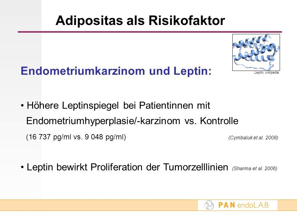 Adipositas als Risikofaktor Endometriumkarzinom und Leptin: Höhere Leptinspiegel bei Patientinnen mit Endometriumhyperplasie/-karzinom vs. Kontrolle (