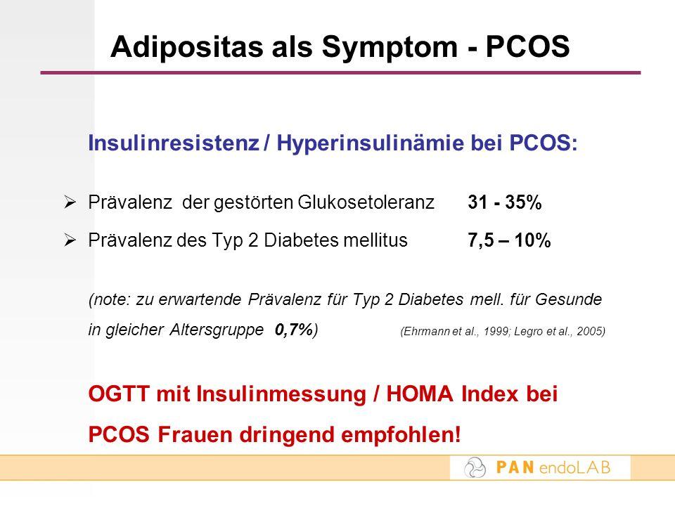Insulinresistenz / Hyperinsulinämie bei PCOS: Prävalenz der gestörten Glukosetoleranz31 - 35% Prävalenz des Typ 2 Diabetes mellitus 7,5 – 10% (note: z