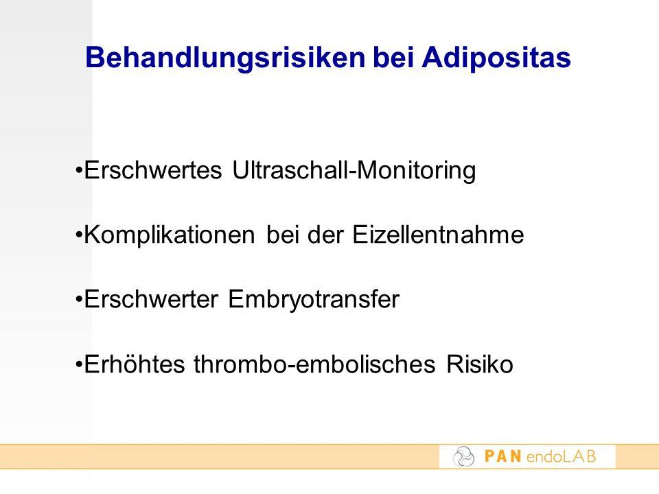 Behandlungsrisiken bei Adipositas Erschwertes Ultraschall-Monitoring Komplikationen bei der Eizellentnahme Erschwerter Embryotransfer Erhöhtes thrombo