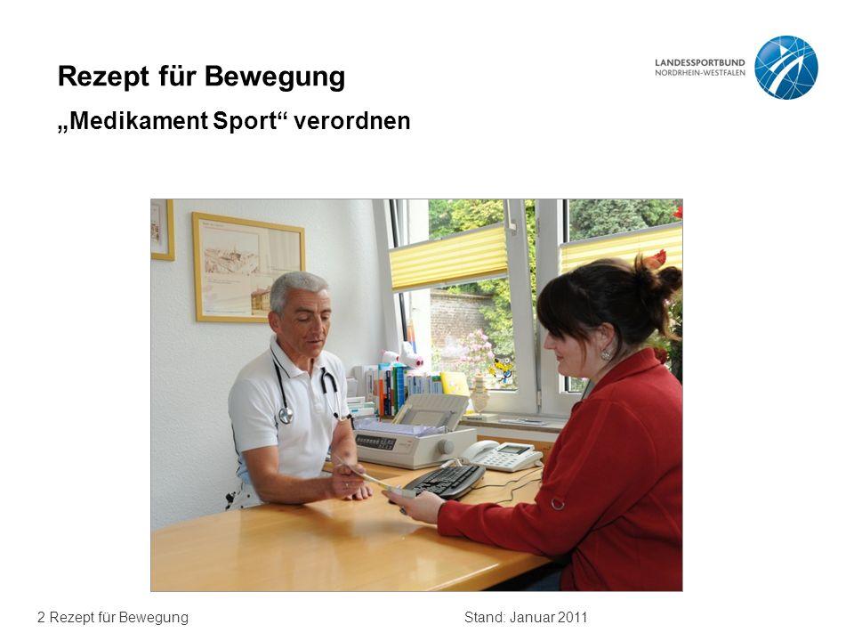 2 Rezept für BewegungStand: Januar 2011 Rezept für Bewegung Medikament Sport verordnen