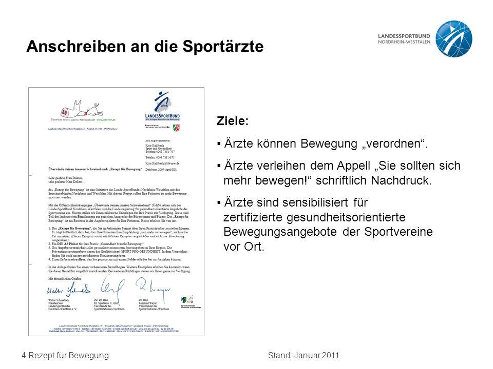 4 Rezept für BewegungStand: Januar 2011 Anschreiben an die Sportärzte Ziele: Ärzte können Bewegung verordnen. Ärzte verleihen dem Appell Sie sollten s