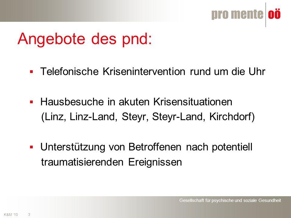 Gesellschaft für psychische und soziale Gesundheit 3 K&M 10 Angebote des pnd: Telefonische Krisenintervention rund um die Uhr Hausbesuche in akuten Krisensituationen (Linz, Linz-Land, Steyr, Steyr-Land, Kirchdorf) Unterstützung von Betroffenen nach potentiell traumatisierenden Ereignissen