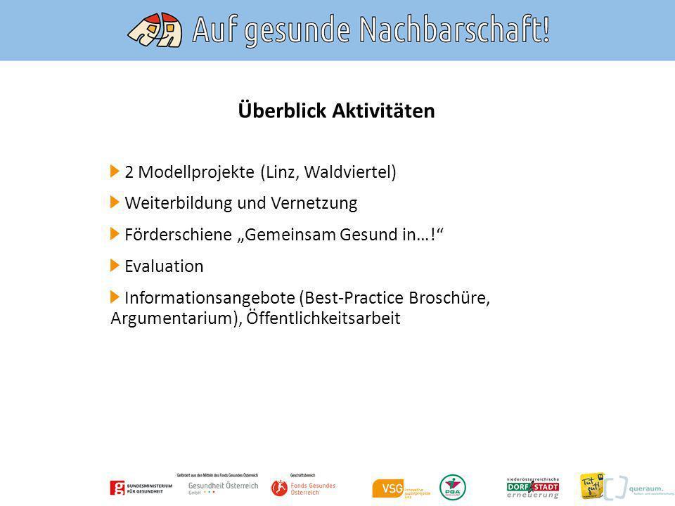 Aktivitäten Modellregionen Linz Auwiesen und NÖ/Waldviertel NÖ Dorf- und Stadterneuerung (Waldviertel), VSG innovative Sozialprojekte (Linz, Auwiesen).