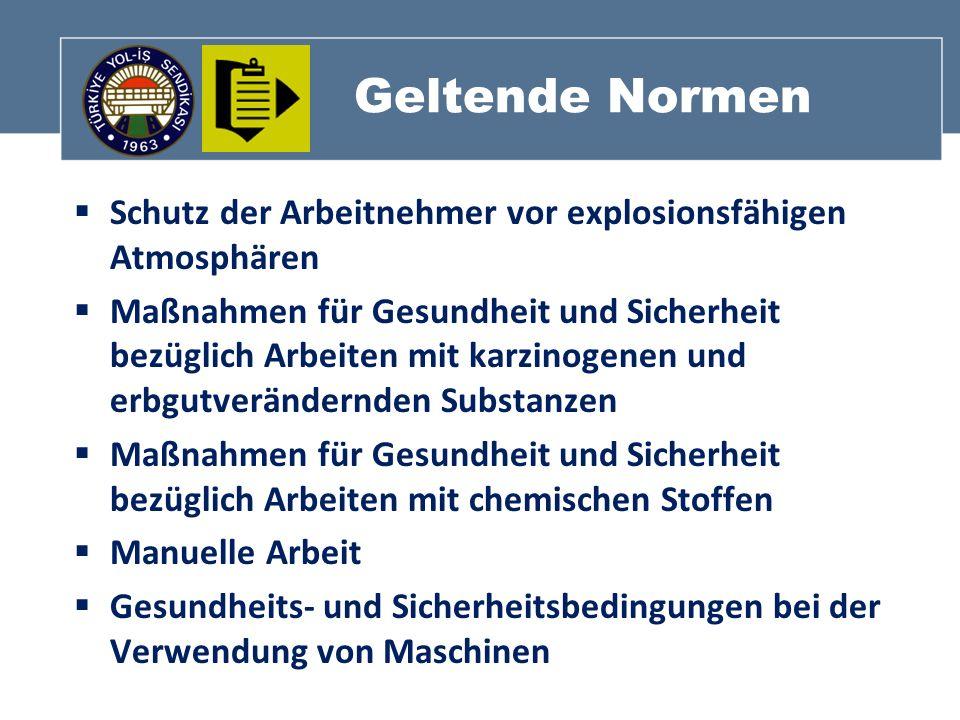 Geltende Normen Schutz der Arbeitnehmer vor explosionsfähigen Atmosphären Maßnahmen für Gesundheit und Sicherheit bezüglich Arbeiten mit karzinogenen