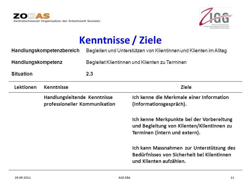 29.09.2011AGS EBA1129.09.2011AGS EBA11 Kenntnisse / Ziele HandlungskompetenzbereichBegleiten und Unterstützen von Klientinnen und Klienten im Alltag H