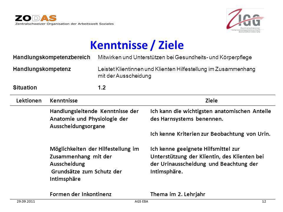 29.09.2011AGS EBA1229.09.2011AGS EBA12 Kenntnisse / Ziele HandlungskompetenzbereichMitwirken und Unterstützen bei Gesundheits- und Körperpflege Handlu