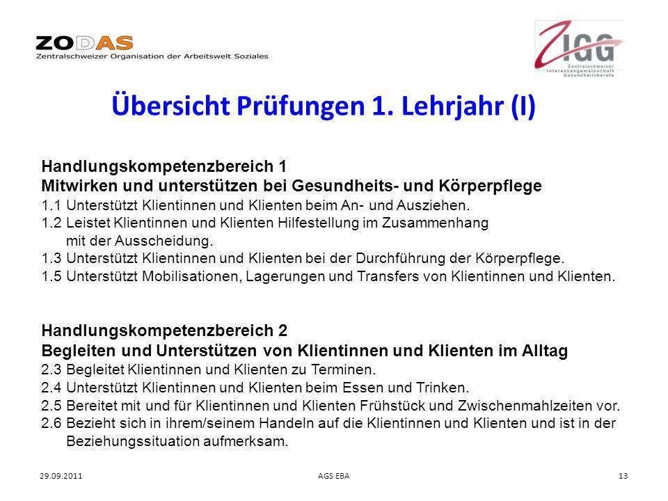 29.09.2011AGS EBA13 Übersicht Prüfungen 1. Lehrjahr (I) Handlungskompetenzbereich 1 Mitwirken und unterstützen bei Gesundheits- und Körperpflege 1.1 U
