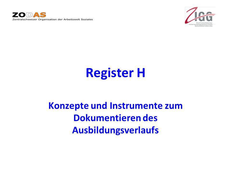 Register H Konzepte und Instrumente zum Dokumentieren des Ausbildungsverlaufs