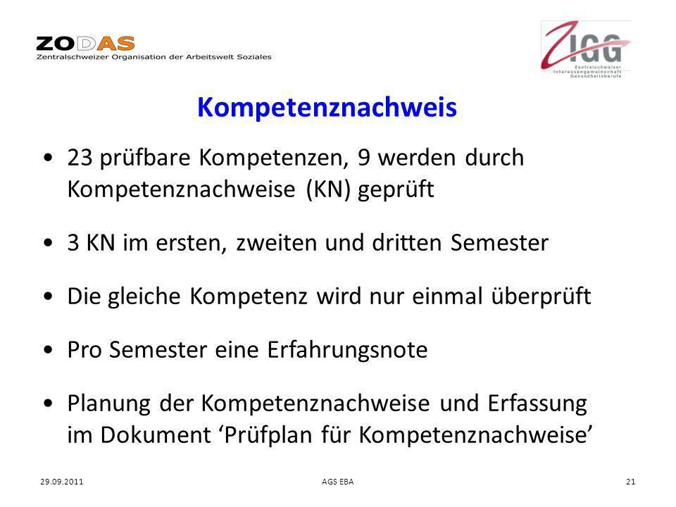 29.09.2011AGS EBA21 Kompetenznachweis 23 prüfbare Kompetenzen, 9 werden durch Kompetenznachweise (KN) geprüft 3 KN im ersten, zweiten und dritten Seme