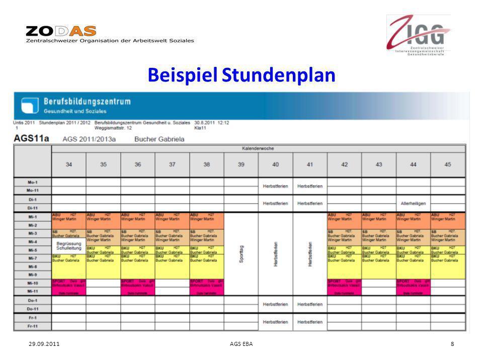 29.09.2011AGS EBA8 Beispiel Stundenplan