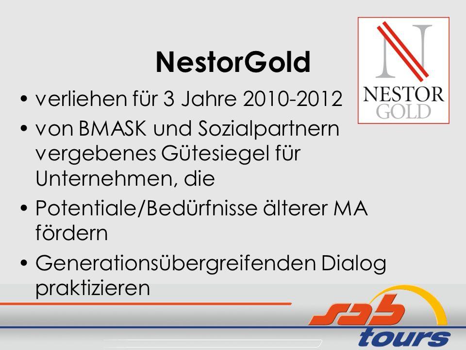 NestorGold verliehen für 3 Jahre 2010-2012 von BMASK und Sozialpartnern vergebenes Gütesiegel für Unternehmen, die Potentiale/Bedürfnisse älterer MA f
