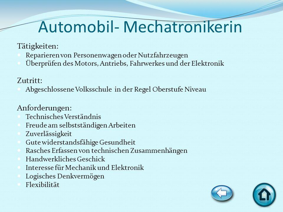 Automobil- Mechatronikerin Tätigkeiten: Reparieren von Personenwagen oder Nutzfahrzeugen Überprüfen des Motors, Antriebs, Fahrwerkes und der Elektroni