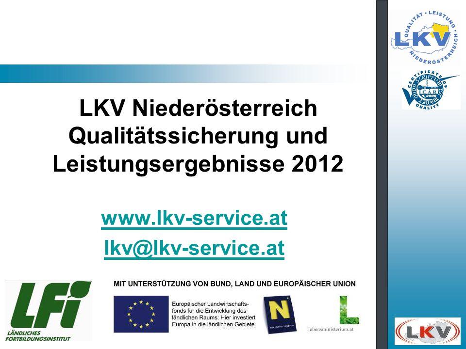 LKV Niederösterreich Qualitätssicherung und Leistungsergebnisse 2012 www.lkv-service.at lkv@lkv-service.at