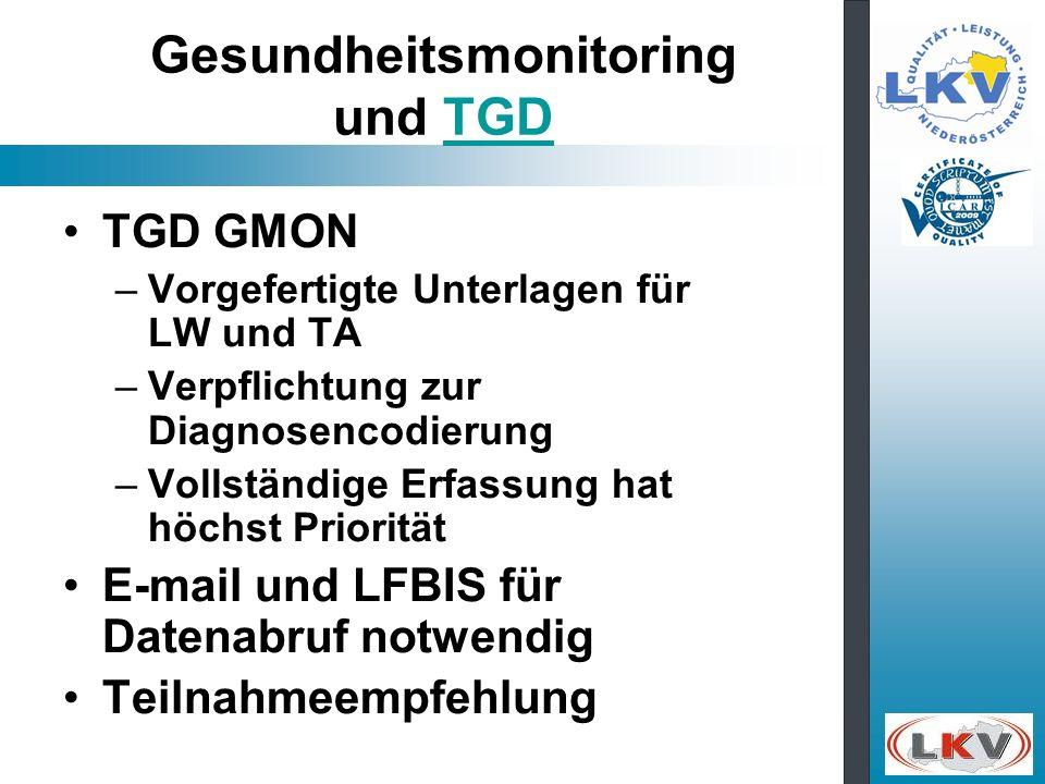 Gesundheitsmonitoring und TGDTGD TGD GMON –Vorgefertigte Unterlagen für LW und TA –Verpflichtung zur Diagnosencodierung –Vollständige Erfassung hat hö