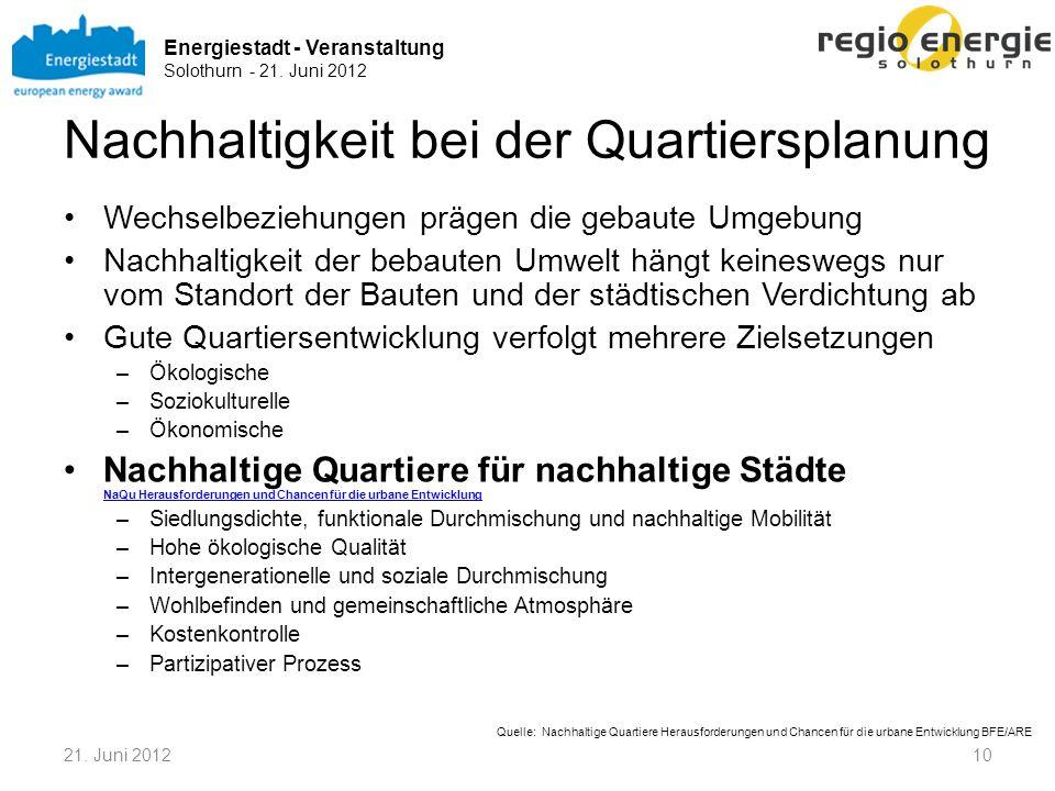 Energiestadt - Veranstaltung Solothurn - 21. Juni 2012 Nachhaltigkeit bei der Quartiersplanung Wechselbeziehungen prägen die gebaute Umgebung Nachhalt