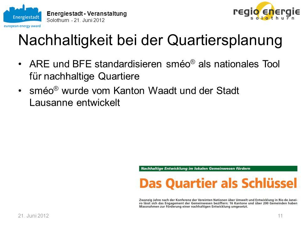 Energiestadt - Veranstaltung Solothurn - 21. Juni 2012 Nachhaltigkeit bei der Quartiersplanung ARE und BFE standardisieren sméo ® als nationales Tool