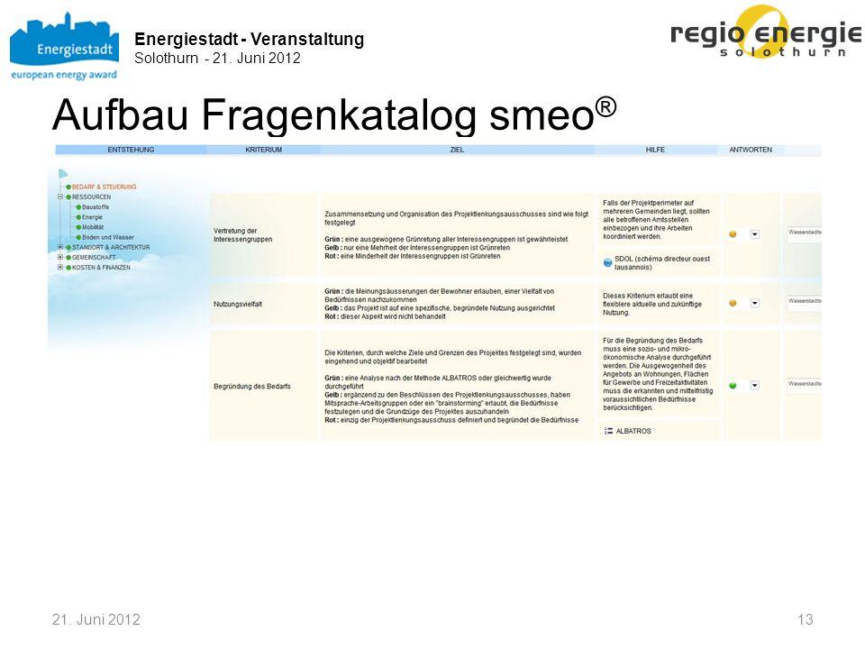 Energiestadt - Veranstaltung Solothurn - 21. Juni 2012 Aufbau Fragenkatalog smeo ® 21. Juni 201213