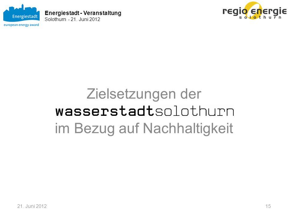 Energiestadt - Veranstaltung Solothurn - 21. Juni 2012 Zielsetzungen der im Bezug auf Nachhaltigkeit 21. Juni 201215