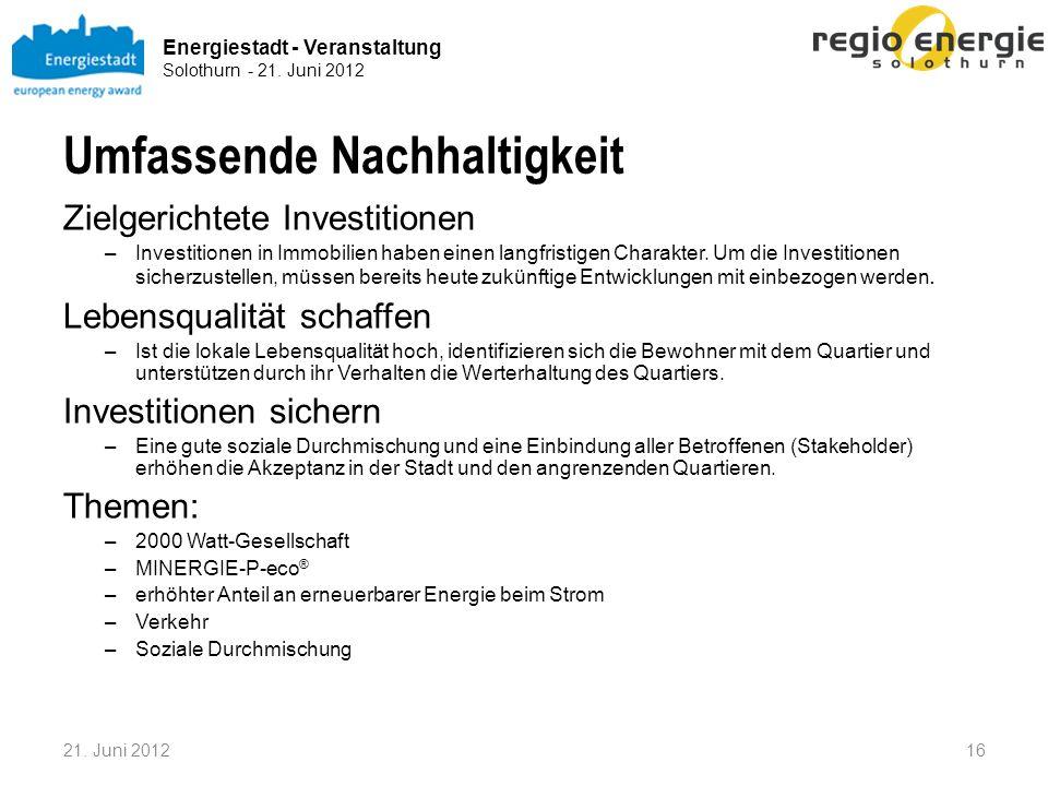 Energiestadt - Veranstaltung Solothurn - 21. Juni 2012 Umfassende Nachhaltigkeit Zielgerichtete Investitionen –Investitionen in Immobilien haben einen