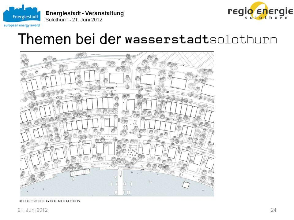 Energiestadt - Veranstaltung Solothurn - 21. Juni 2012 Themen bei der 2421. Juni 2012