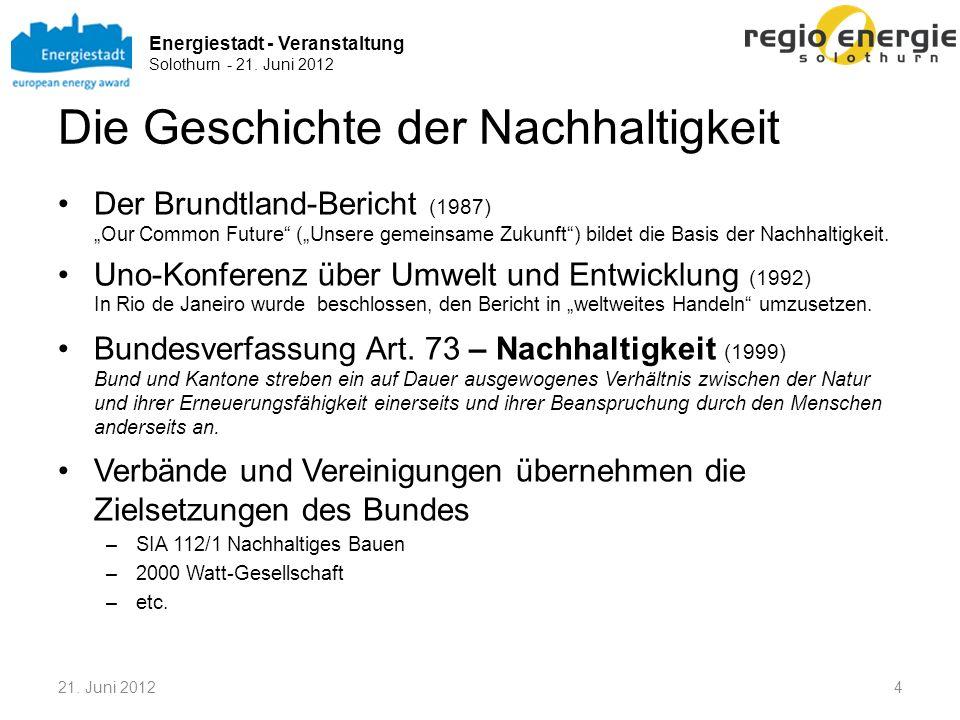 Energiestadt - Veranstaltung Solothurn - 21. Juni 2012 Die Geschichte der Nachhaltigkeit Der Brundtland-Bericht (1987)Our Common Future (Unsere gemein