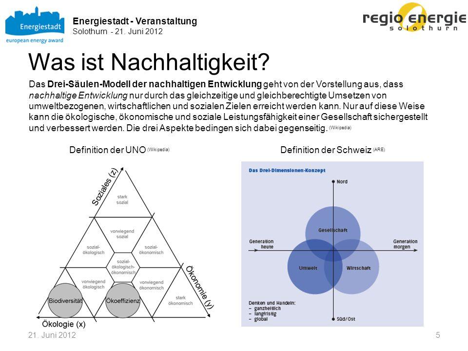 Energiestadt - Veranstaltung Solothurn - 21. Juni 2012 Was ist Nachhaltigkeit? Definition der Schweiz (ARE) Definition der UNO (Wikipedia) Das Drei-Sä