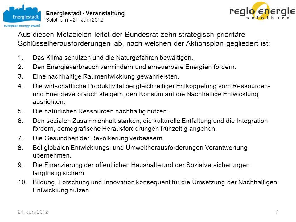 Energiestadt - Veranstaltung Solothurn - 21. Juni 2012 1821. Juni 2012 Themen bei der