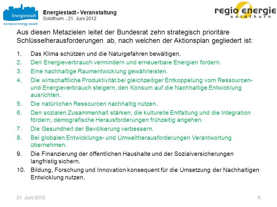 Energiestadt - Veranstaltung Solothurn - 21. Juni 2012 Aus diesen Metazielen leitet der Bundesrat zehn strategisch prioritäre Schlüsselherausforderung