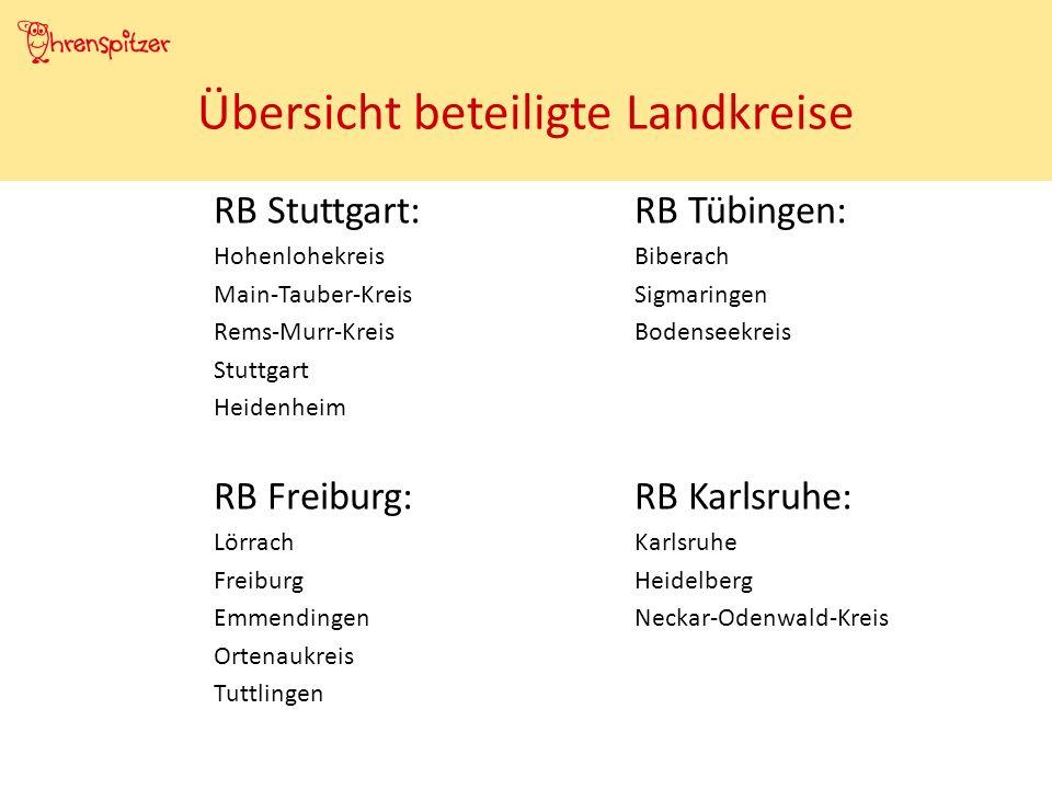 RB Stuttgart:RB Tübingen: HohenlohekreisBiberach Main-Tauber-KreisSigmaringen Rems-Murr-KreisBodenseekreis Stuttgart Heidenheim RB Freiburg:RB Karlsruhe: LörrachKarlsruhe FreiburgHeidelberg EmmendingenNeckar-Odenwald-Kreis Ortenaukreis Tuttlingen Übersicht beteiligte Landkreise