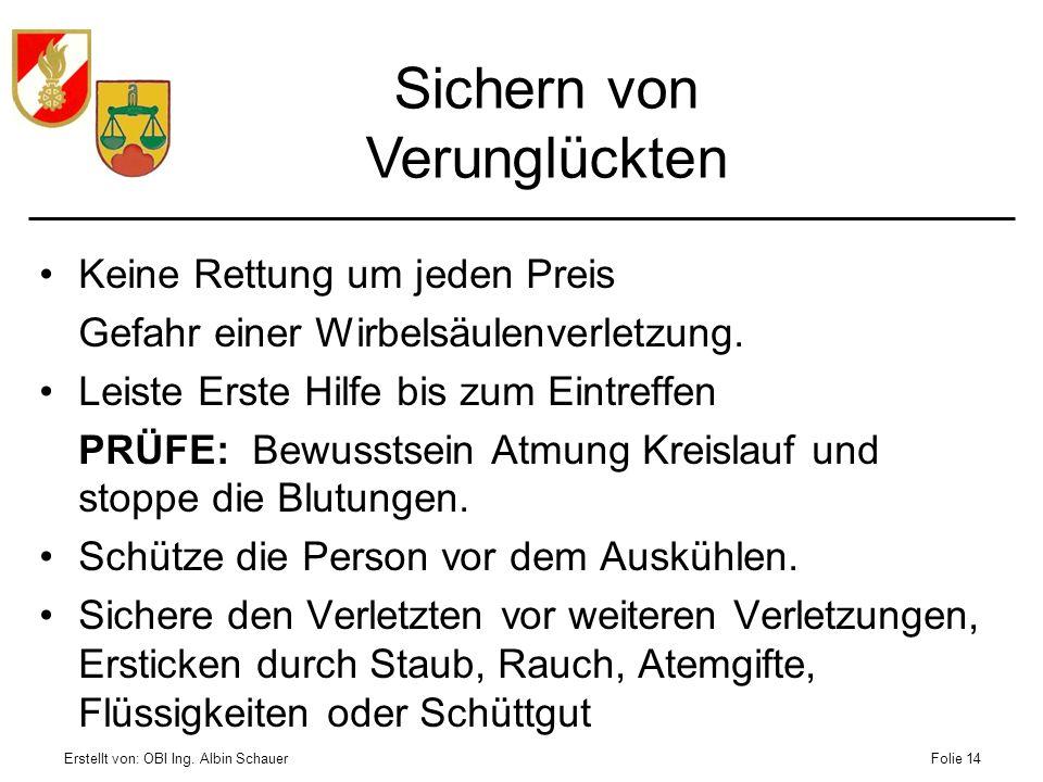 Erstellt von: OBI Ing. Albin SchauerFolie 14 Keine Rettung um jeden Preis Gefahr einer Wirbelsäulenverletzung. Leiste Erste Hilfe bis zum Eintreffen P