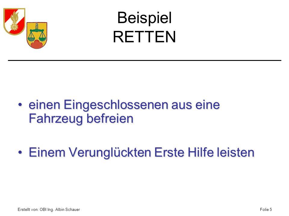 Erstellt von: OBI Ing. Albin SchauerFolie 5 Beispiel RETTEN einen Eingeschlossenen aus eine Fahrzeug befreieneinen Eingeschlossenen aus eine Fahrzeug