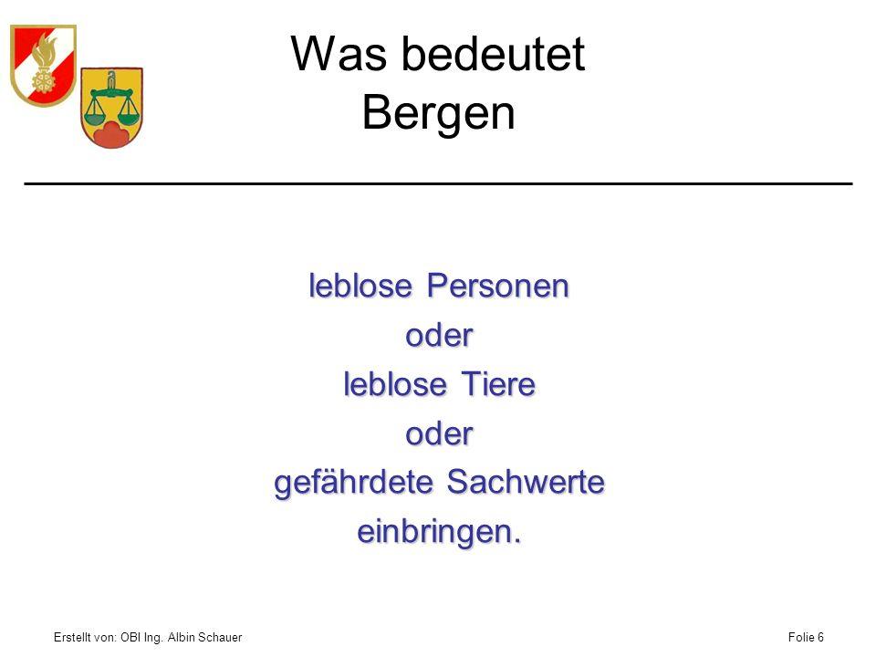 Erstellt von: OBI Ing. Albin SchauerFolie 6 Was bedeutet Bergen leblose Personen oder leblose Tiere oder gefährdete Sachwerte einbringen.